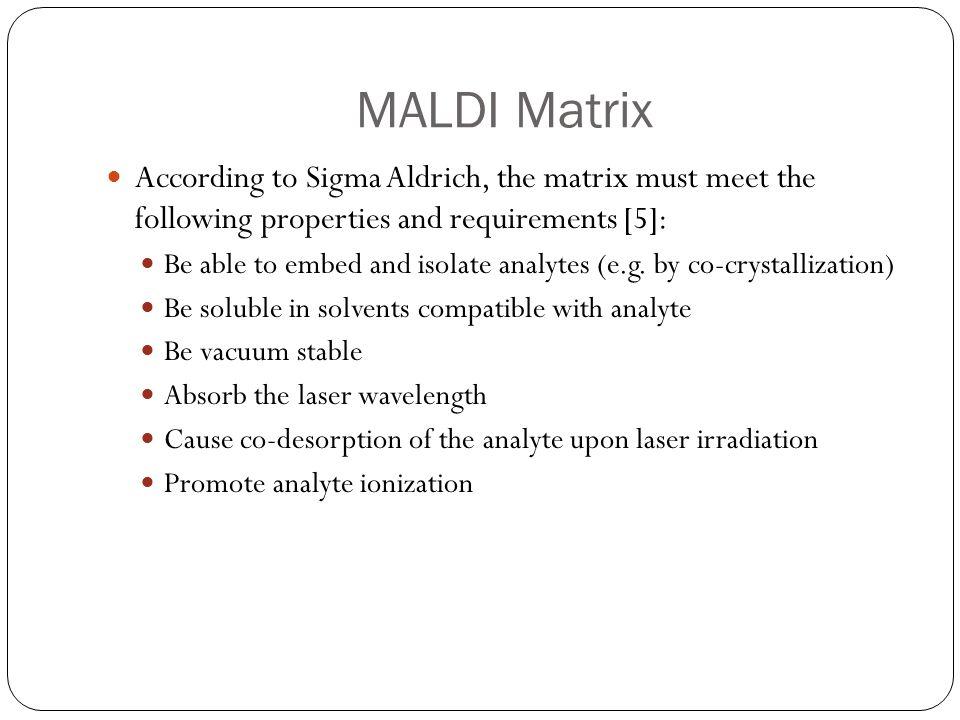 MALDI Matrix According to Sigma Aldrich, the matrix must meet the following properties and requirements [5]: